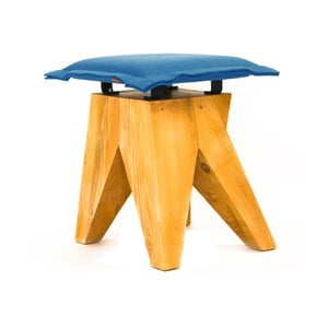 Dřevěná stolička Low, modrá