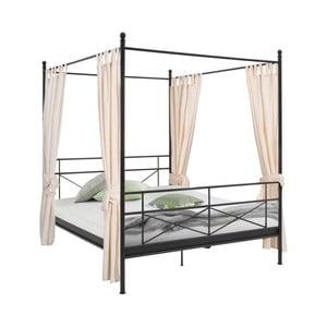 Černá kovová postel Støraa Tanja Canopy, 180x200cm