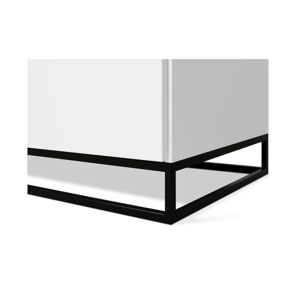 Bílá komoda s deskou z bílého dubu s 3 šuplíky a 2 dvířkami a černýma nohama TemaHome Join