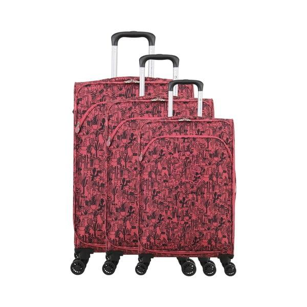 Zestaw 3 różowych walizek z 4 kółkami Lulucastagnette Casandra