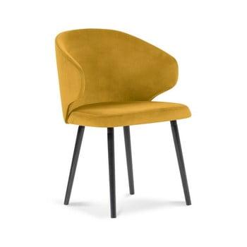 Scaun cu tapițerie de catifea Windsor & Co Sofas Nemesis, galben imagine