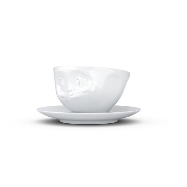 Ceașcă din porțelan cu farfurie, sclifosit, 58products, alb