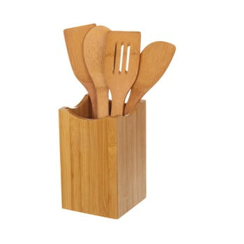 Set suport și 4 ustensile din bambus pentru bucătărie Unimasa imagine