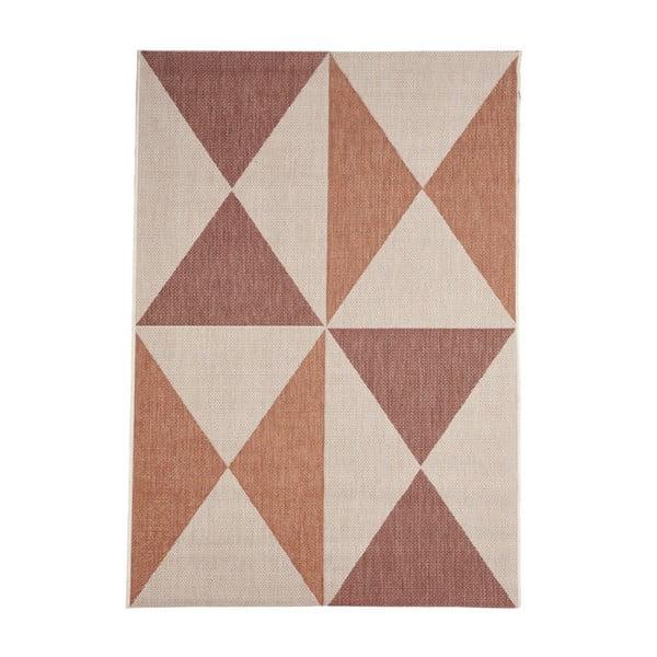 Béžovo-oranžový venkovní koberec Floorita Geo, 160 x 230 cm