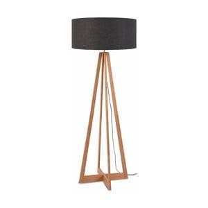 Stojací lampa s tmavě šedým stínidlem a konstrukcí z bambusu Good&Mojo Everest