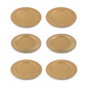 Sada 6 vánočních dekorativních plastových talířů ve zlaté barvě Villa d'Este XMAS Piatto Oro Moderno, ⌀ 33 cm