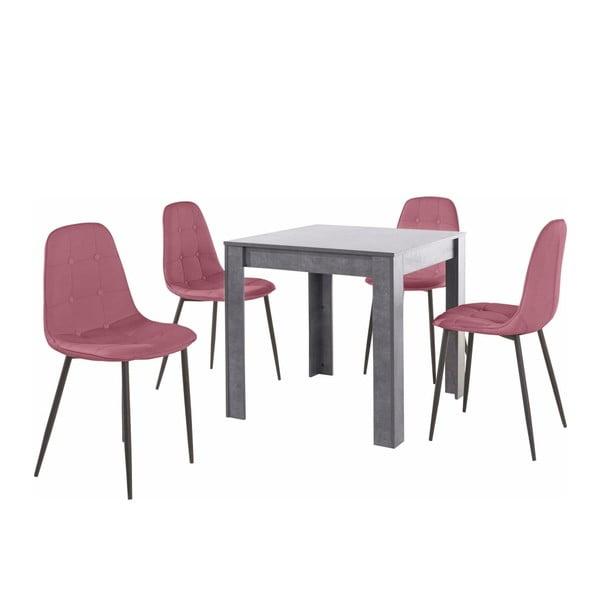 Set masă gri cu 4 scaune Støraa Lori Lamar Duro, roz