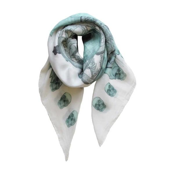Vlněný šátek s kašmírem Guns Turquoise, 130x130 cm