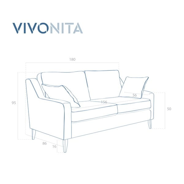 Tyrkysová trojmístná pohovka Vivonita Bond