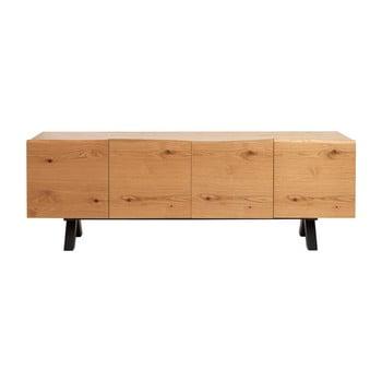 Comodă joasă din lemn de stejar alb Unique Furniture Oliveto