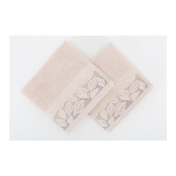 Sada 2 ručníků Floras Brown, 50x90 cm