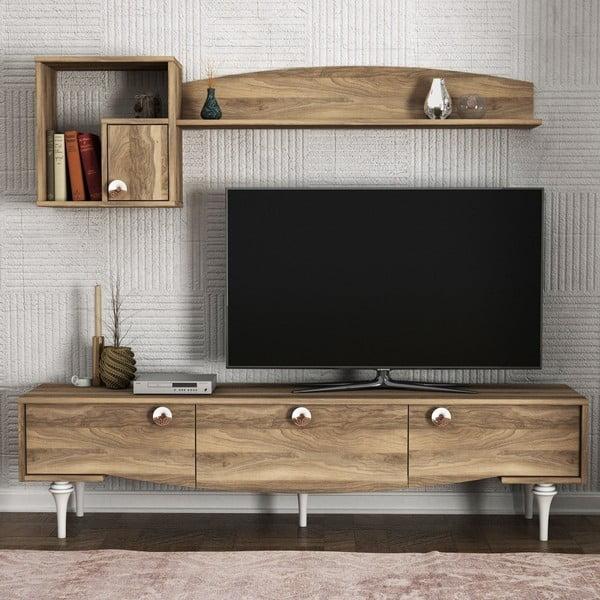 Komplet szafki pod TV i szafek ściennych w dekorze drewna orzecha Kumsal