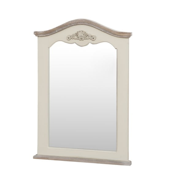 Zrkadlo v krémovobielom ráme z topoľového dreva Livin Hill Rimini, výška 85cm