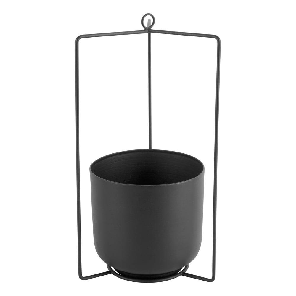 Černý kovový závěsný květináč PT LIVING Spatial, výška36cm
