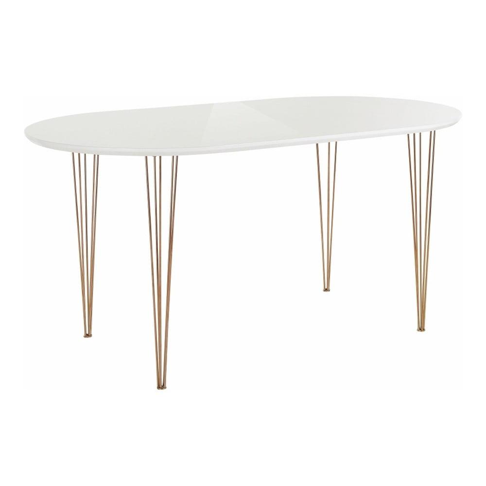 Bílý stůl ve vysokém lesku Støraa Ermelo, délka 120 cm