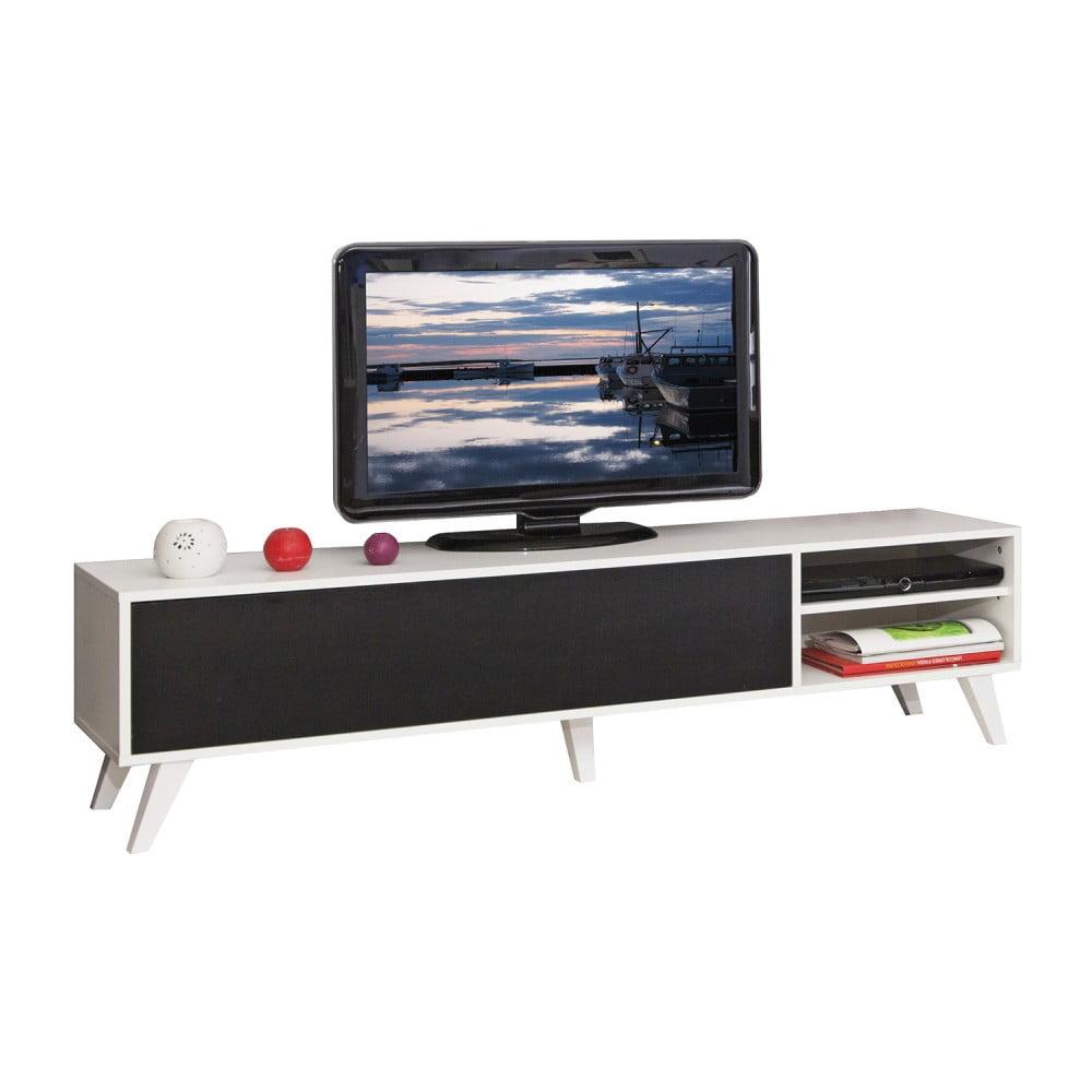 Černý televizní stolek s bílým korpusem Symbiosis Prism