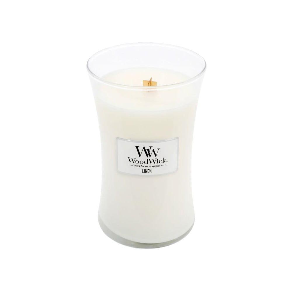 Svíčka s vůní čerstvě vypraného prádla WoodWick Čisté prádlo, dobahoření130hodin