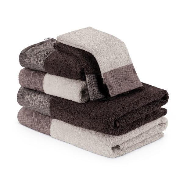 Sada 6 hnedých uterákov a osušiek AmeliaHome
