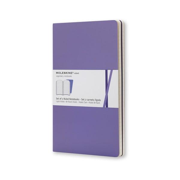 Sada 2 notesů Moleskine Dark Purple, linkované 13x21 cm