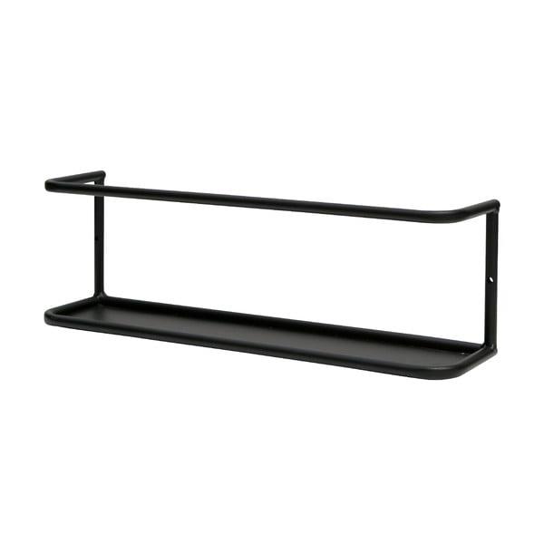 Čierna nástenná kovová polička WOOOD Myrthe, dĺžka 40 cm