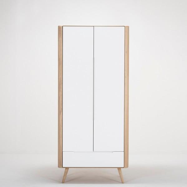 Ena ruhásszekrény tömör tölgyfa szerkezettel és fiókkal, magasság 200 cm - Gazzda