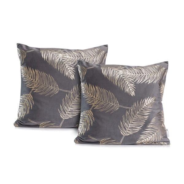 Sada 2 šedých povlaků na polštáře DecoKing Golden Leafes Steel, 45 x 45 cm