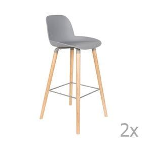 Sada 2 světle šedých barových židlí Zuiver Albert Kuip, výška sedu 75cm