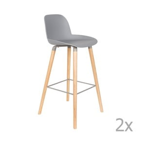 Set 2 scaune bar Zuiver Albert Kuip, înălțime scaun 75cm, gri deschis