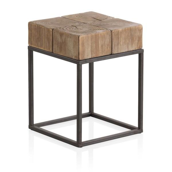 Drevený odkladací stolík s kovovými nohami Geese Robust, 33 x 33 cm