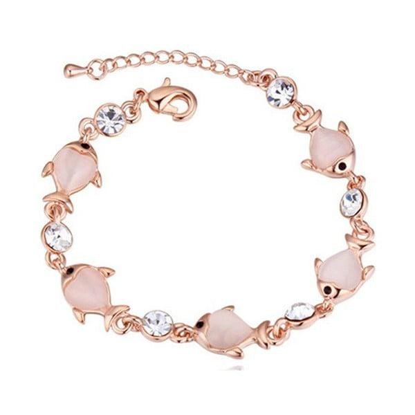 Cercei suflați în aur roz cu cristale Swarovski Elements Crystals Pesces
