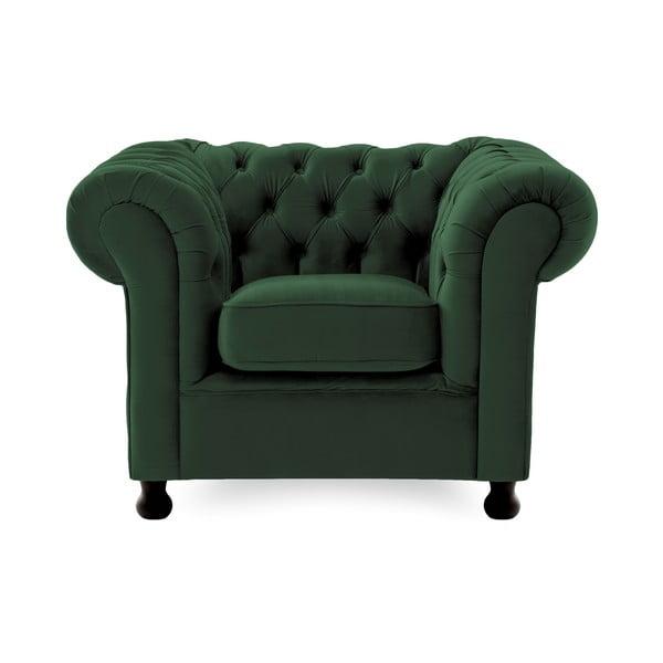 Ciemnozielony fotel Vivonita Chesterfield