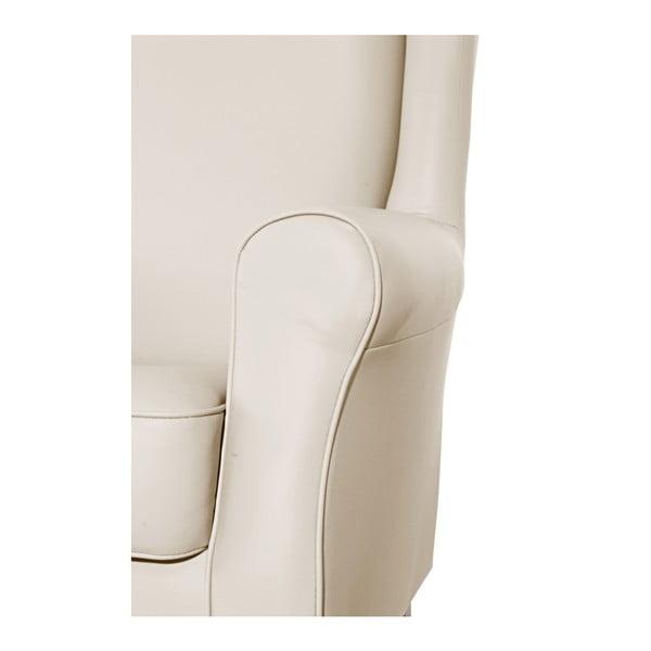 Béžové křeslo ušák Max Winzer Lorris Leather Beige
