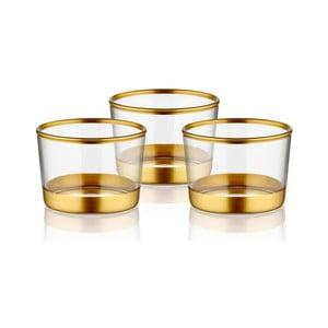 Sada 3 skleněných servírovacích misek ve zlatém dekoru The Mia Glam