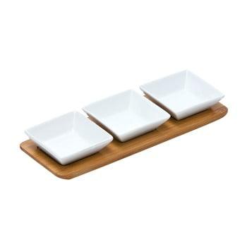 Set 3 boluri servire și tavă de bambus Premier Housewares Snacks de la Premier Housewares
