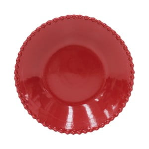 Rubínově červený kameninový talíř na polévku Costa Nova Pearl, ⌀24cm