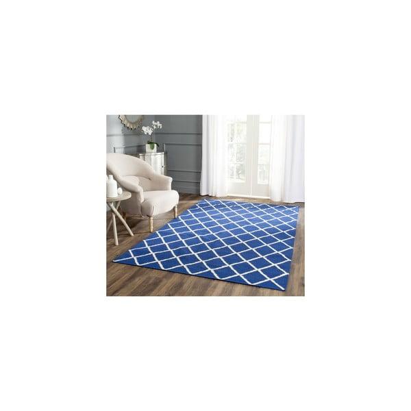 Vlněný koberec Fes 76x243 cm, modrý