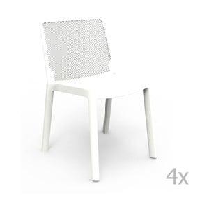 Sada 4 bílých zahradních židlí Resol Fresh