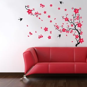 Samolepka na zeď Ptáci a květina, 90x60 cm