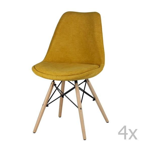 Set 4 scaune sømcasa Lindy, galben
