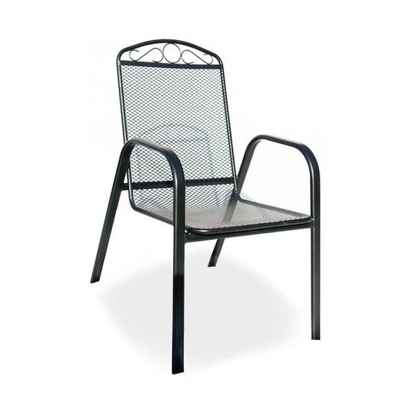 Scaun de grădină cu structură metalică Timpana Black, negru