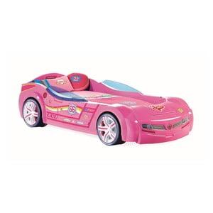 Růžová dětská postel ve tvaru auta Biturbo Carbed Pink, 90 x 195 cm