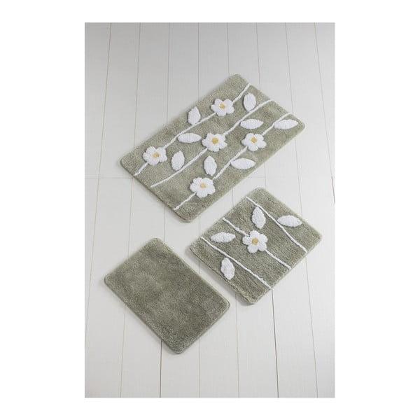 Komplet 3 szarych dywaników łazienkowych Talia