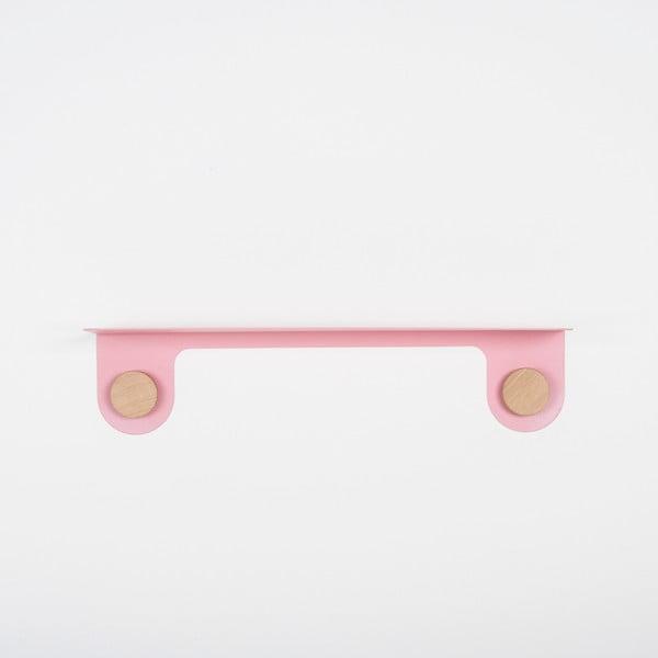 Hook rózsaszín fali polc 2 akasztóval, hossz 60 cm - Gazzda