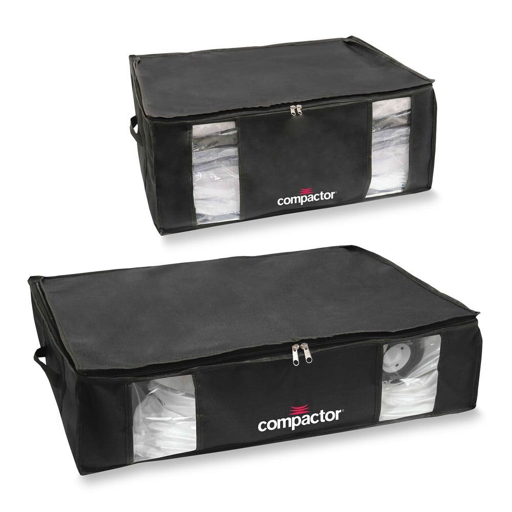 Sada 2 černých úložných boxů s vakuovým obalem Compactor XXL and Large