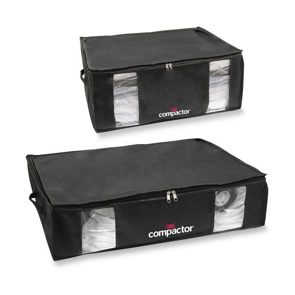 Sada 2 čiernych úložných boxov s vakuovým obalom Compactor XXL and Large