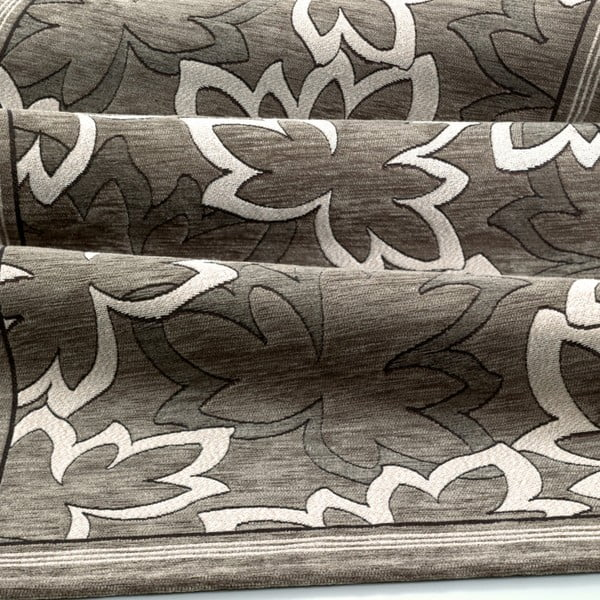Šedohnědý vysoce odolný kuchyňský koberec Webtappeti Maple Fango,55x190cm