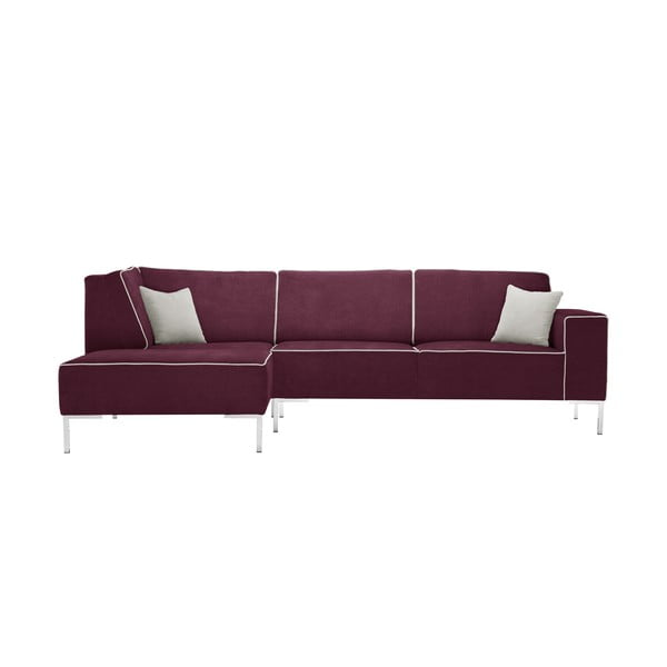 Bordowa sofa narożna Corinne Cobson Blackbird, lewy róg