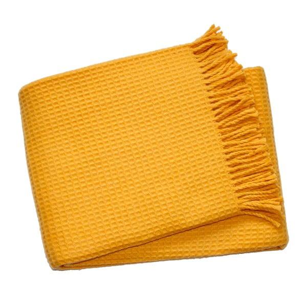 Waffel Saffron Yellow pléd, 140 x 180 cm