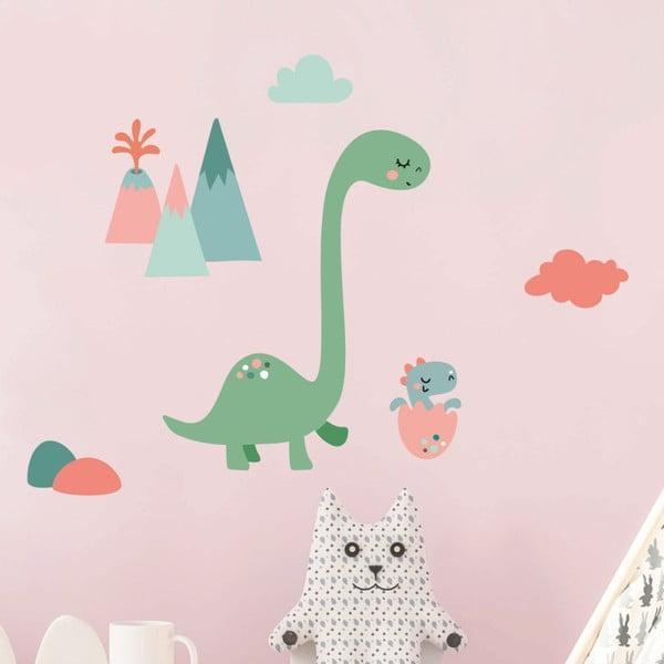 Autocolant de perete Ambiance Mum and Baby Dinosaur