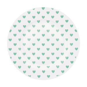 Keramický talíř Miss Étoile Emerald Hearts, ⌀ 25 cm